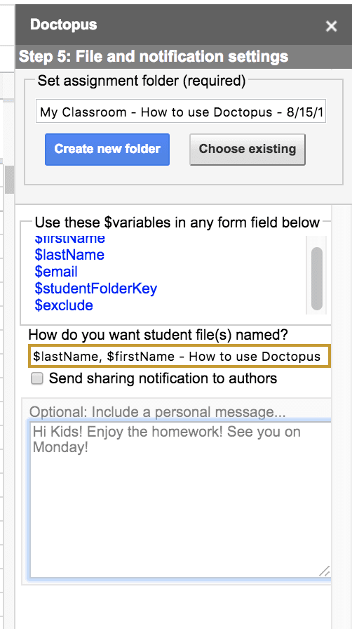 Doctopus: File and Notification Settings