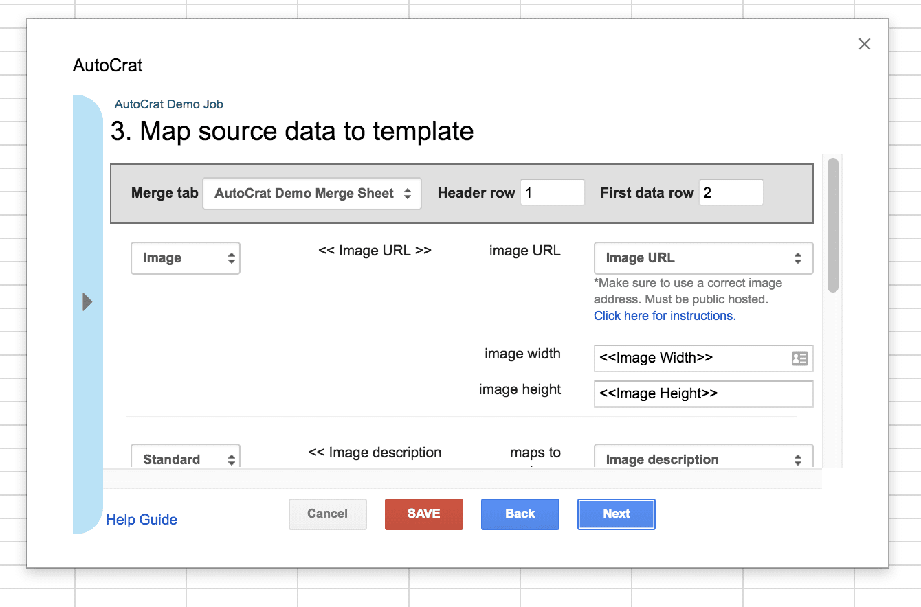 Mapping Source Data to Template
