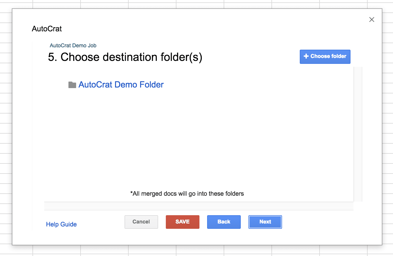 Autocrat Add on: Choosing Destination Folder