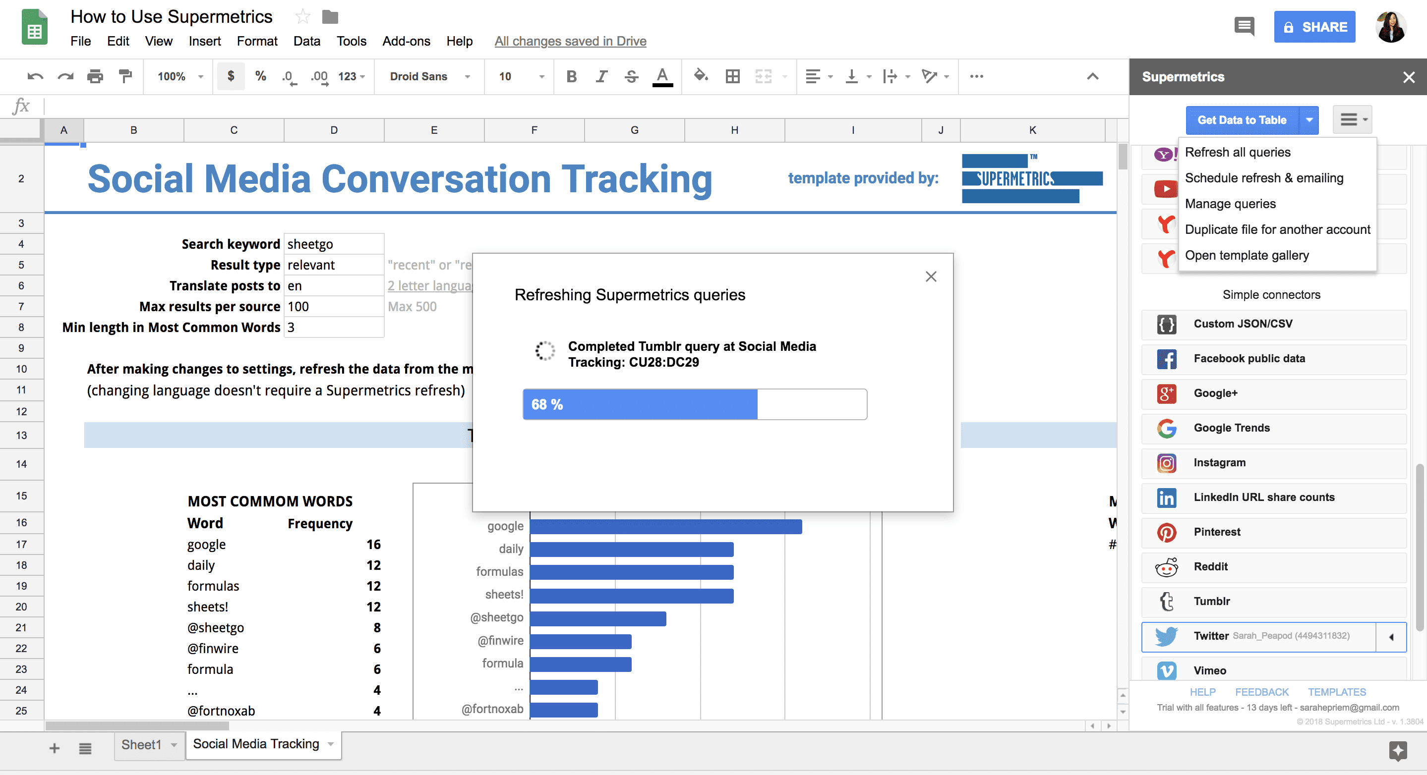 Social Media Conversation Tracking in Google Sheets