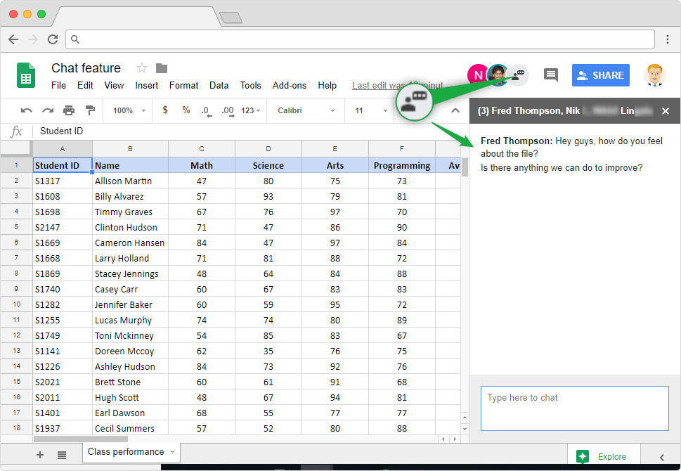 Chat feature in Google Sheets - Illustration 2