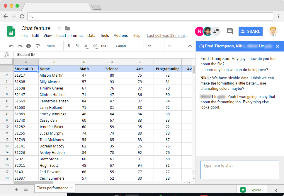 Chat feature in Google Sheets - Illustration 4