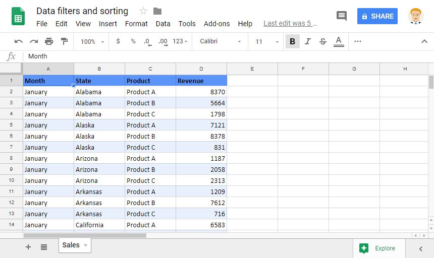 Sorting and Filtering Data: Sample Data of Sales Revenues in the USA