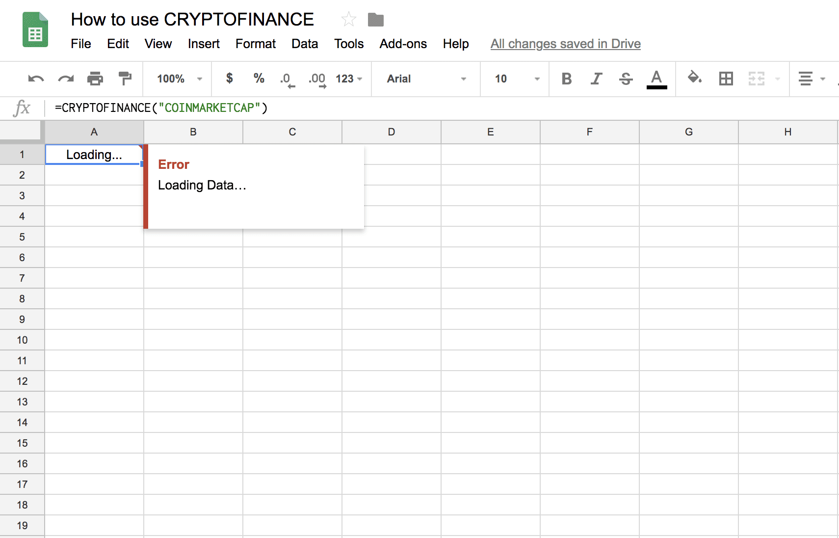 Cryptofinance: Loading Data in Google Sheets
