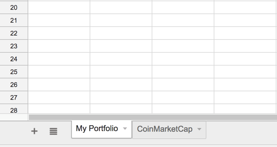 CRYPTOFINANCE: Snapshot of Second Spreadsheet