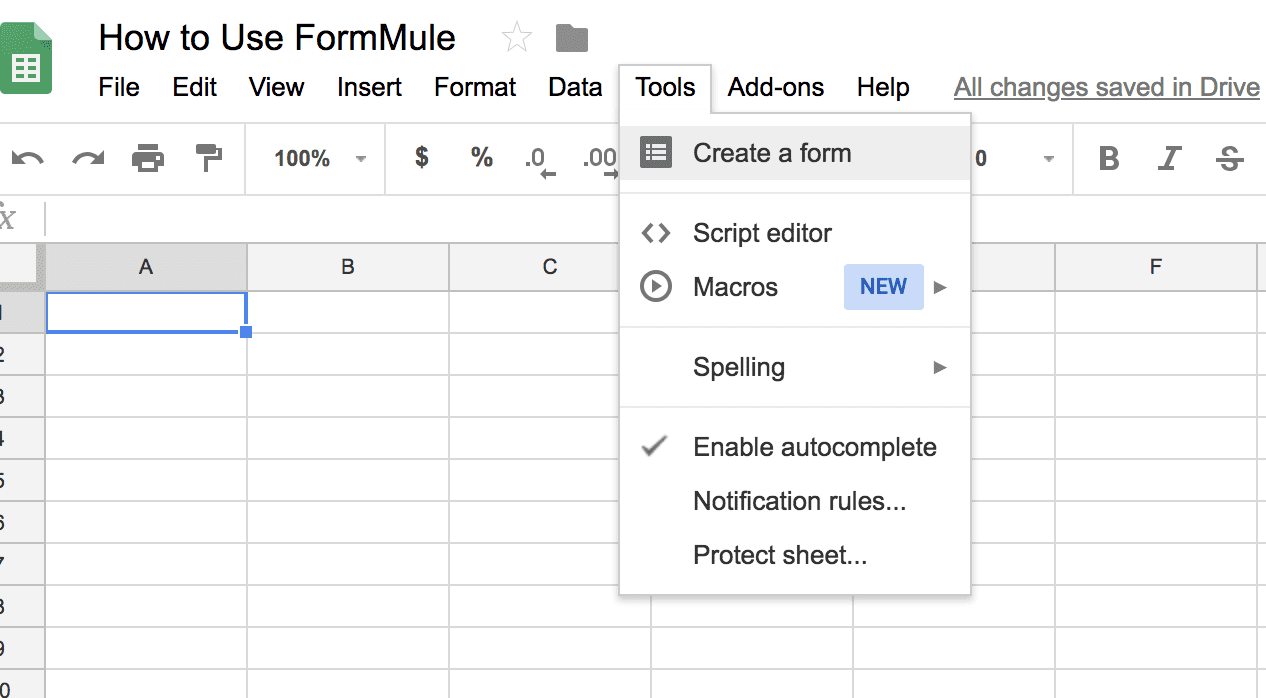 FormMule: Navigation to Create a Form in Google Sheets