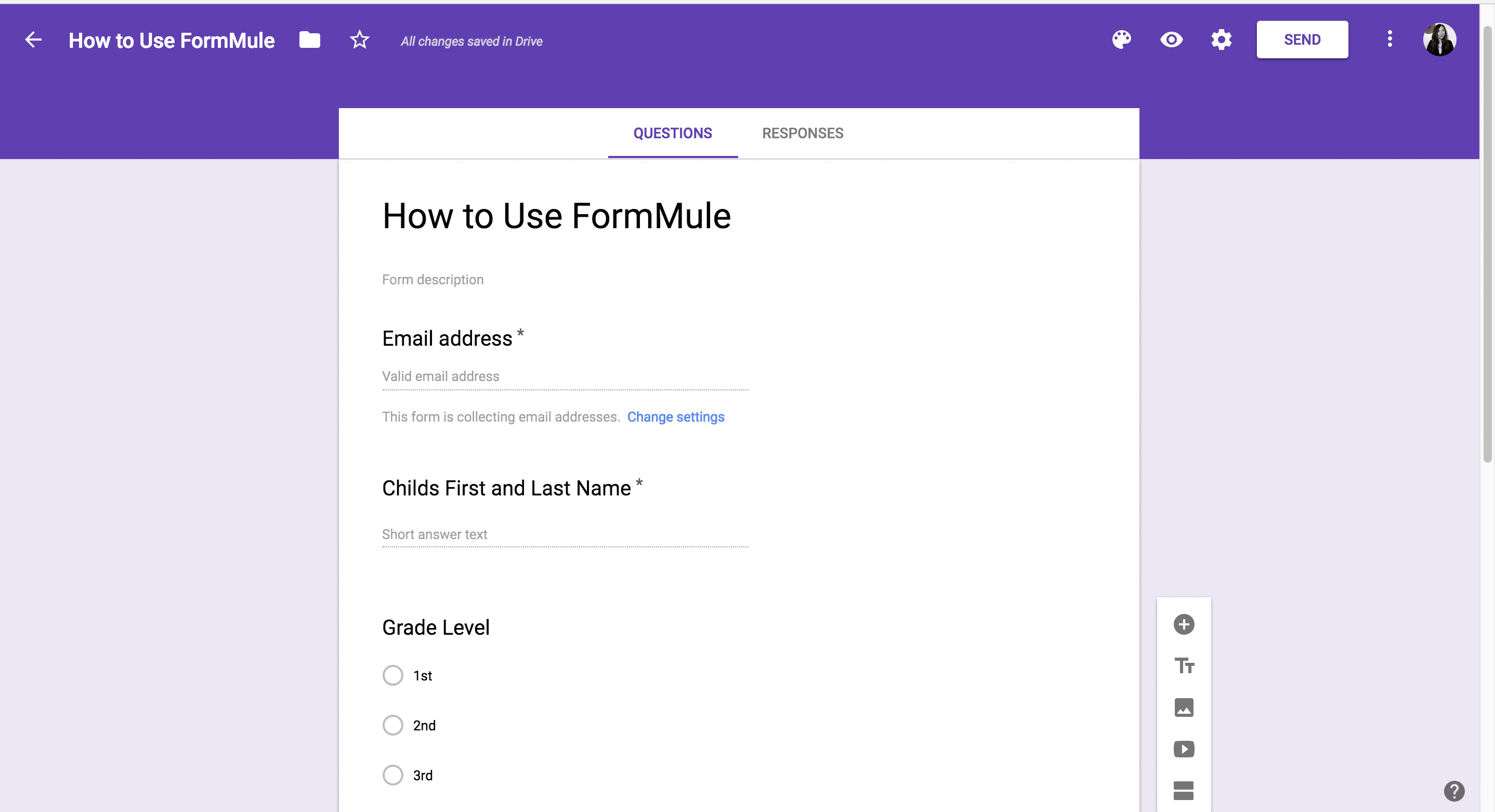 FormMule: Sample Form in Google Sheets