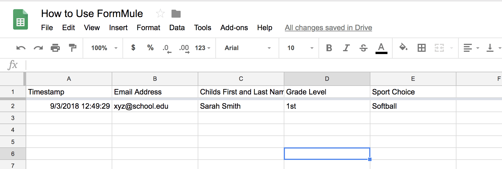FormMule: Form responses in Google Sheets