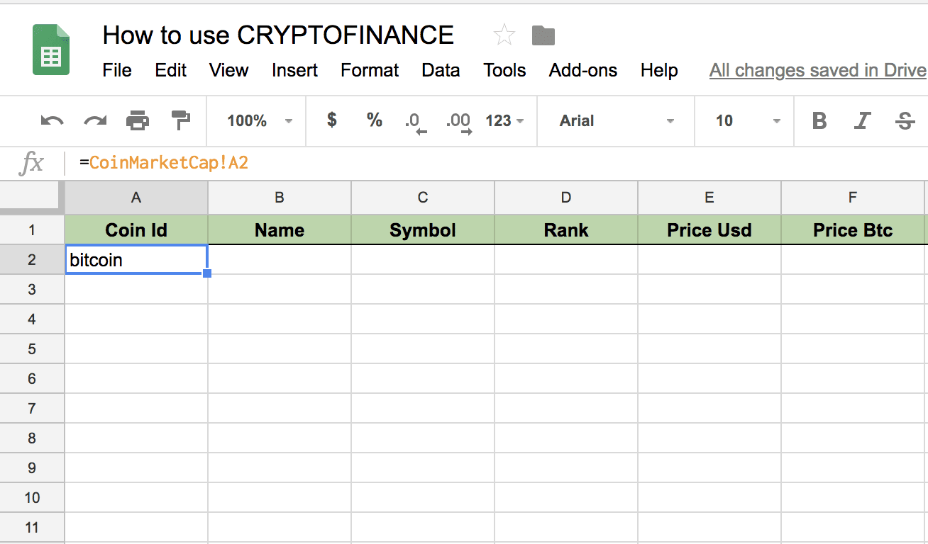 Cryptofinance: Coinmarketcap Formula in Google sheets