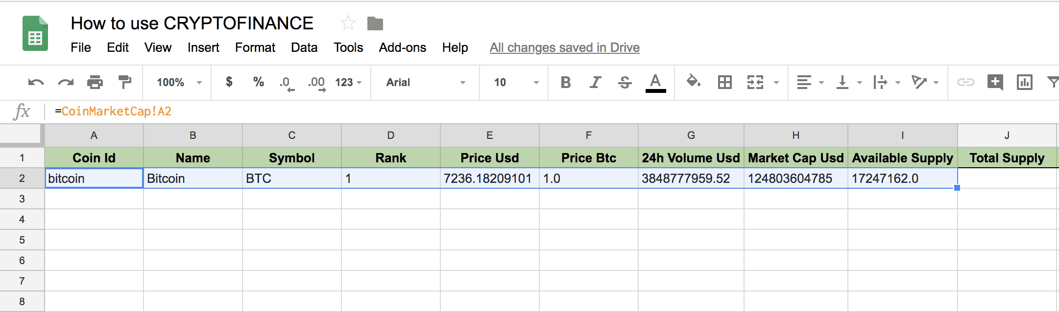 Cryptofinance in Google Sheets