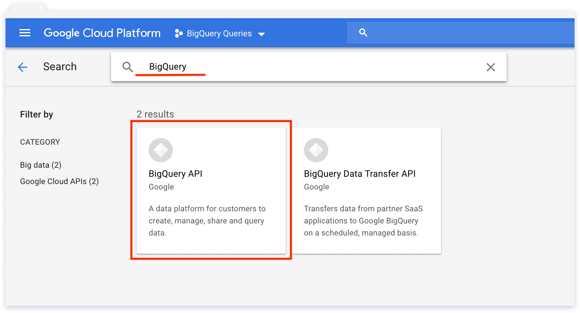 Bigquery Queries in Google Cloud Platform