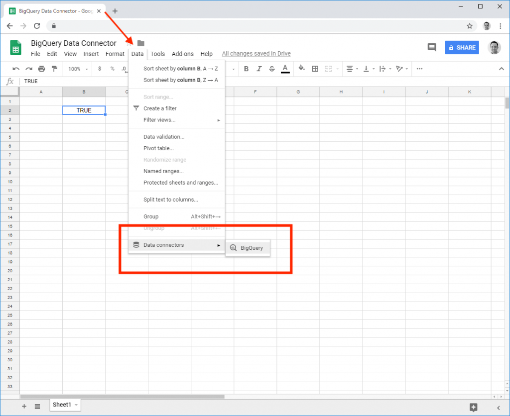 Navigation to BigQuery in Google Sheets