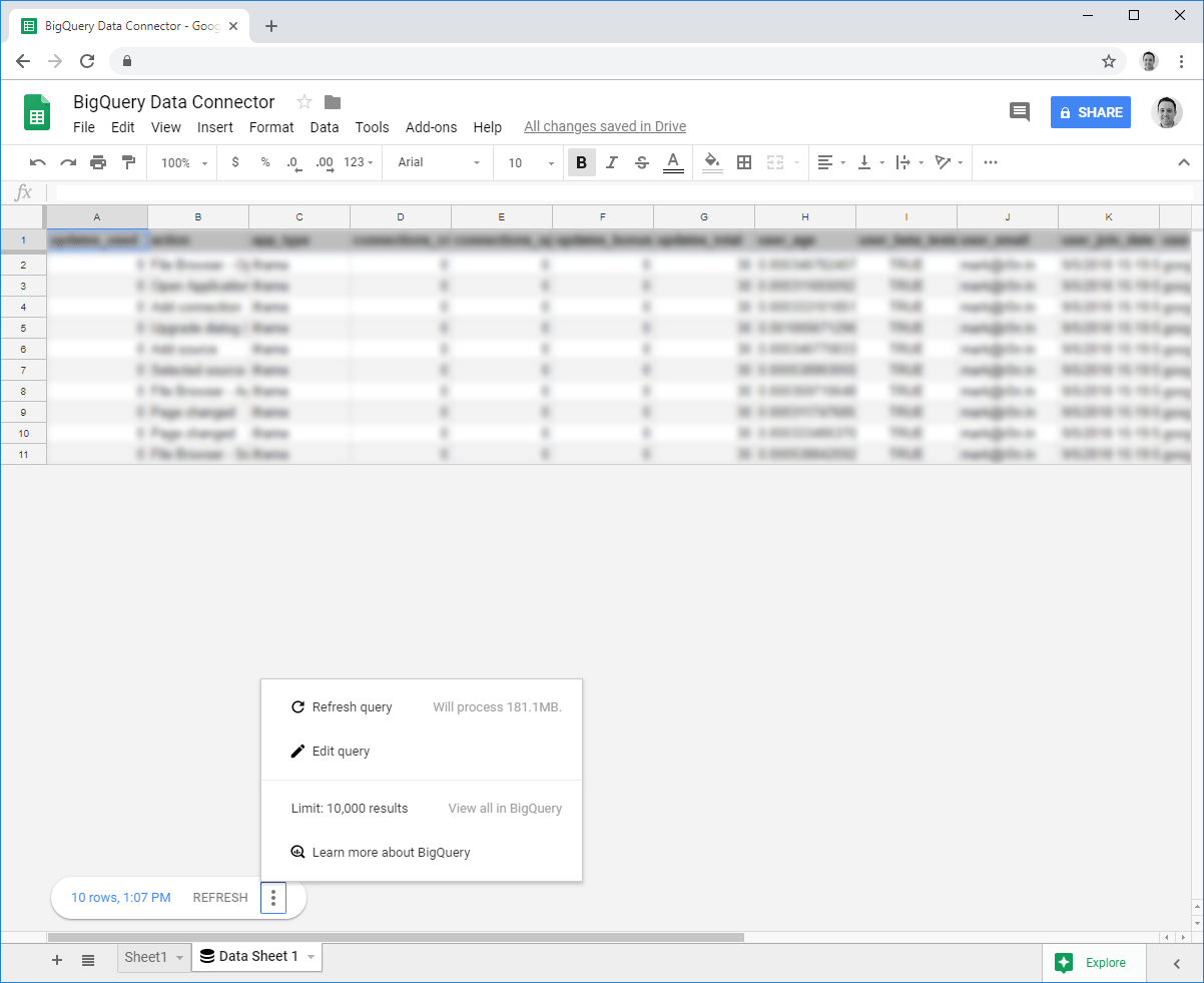 BigQuery Connection Edit Options in Google Sheets