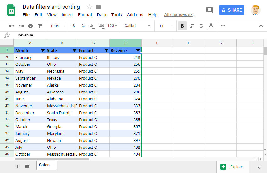 Sorting and Filtering Data
