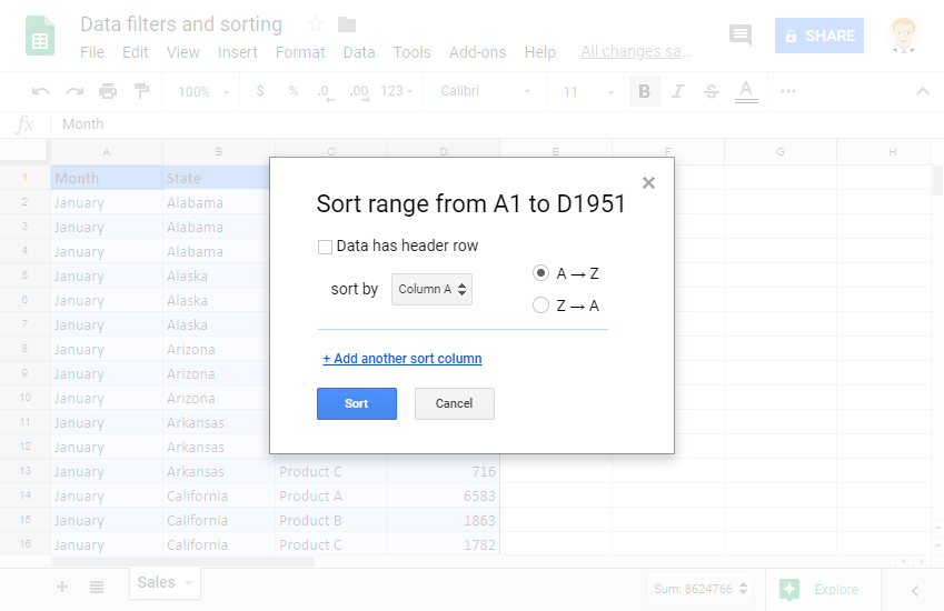 Sorting and Filtering Data: Sort Range in Google Sheets