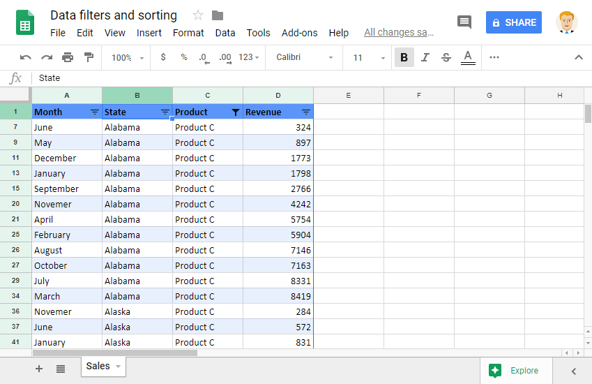 Sorting and Filtering Data on Multiple Columns