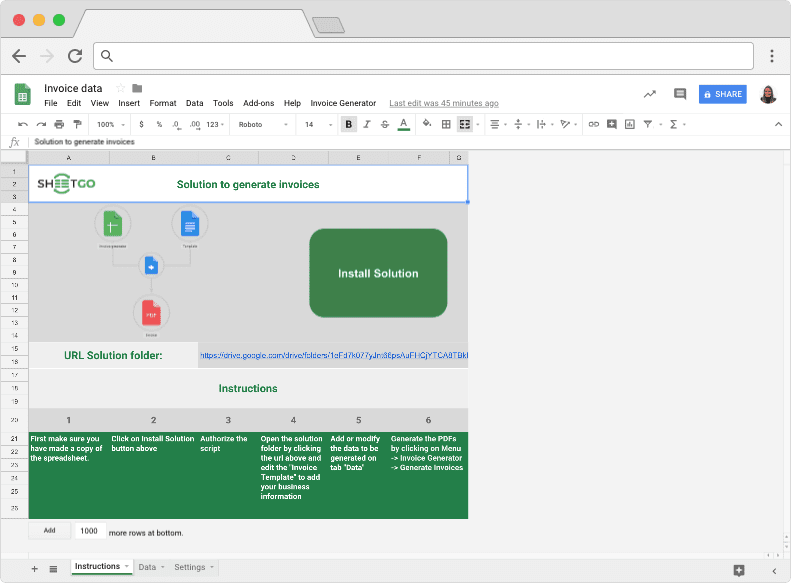 open the invoice folder that has been created inside your google drive by clicking the link on the instruction tab open the invoice template document
