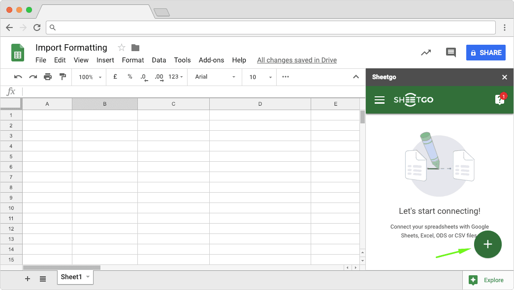 Starting Sheetgo Add-on to Preserve the Formats in Google Sheets