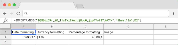 Copy formatting Google Sheets: Formatting Import Using Importrange