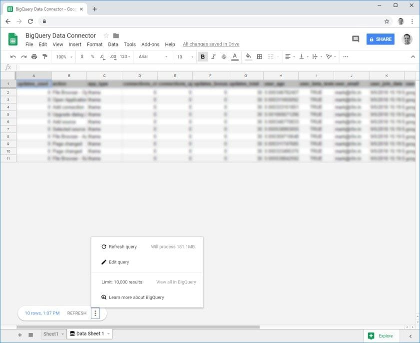 Google sheets BigQuery results and options