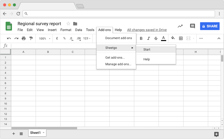 Regional Survey Sheet: Start Sheetgo Add on To Import Filtered Data