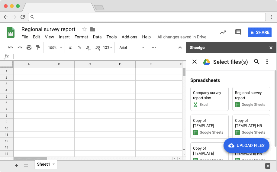 Select Files Section in Google Sheets to Import Data