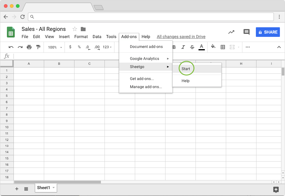 Starting Sheetgo Add on to Merge Data