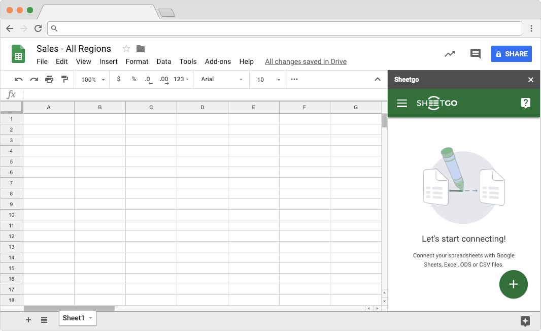 Starting Sheetgo Add on to Connect Spreadsheets