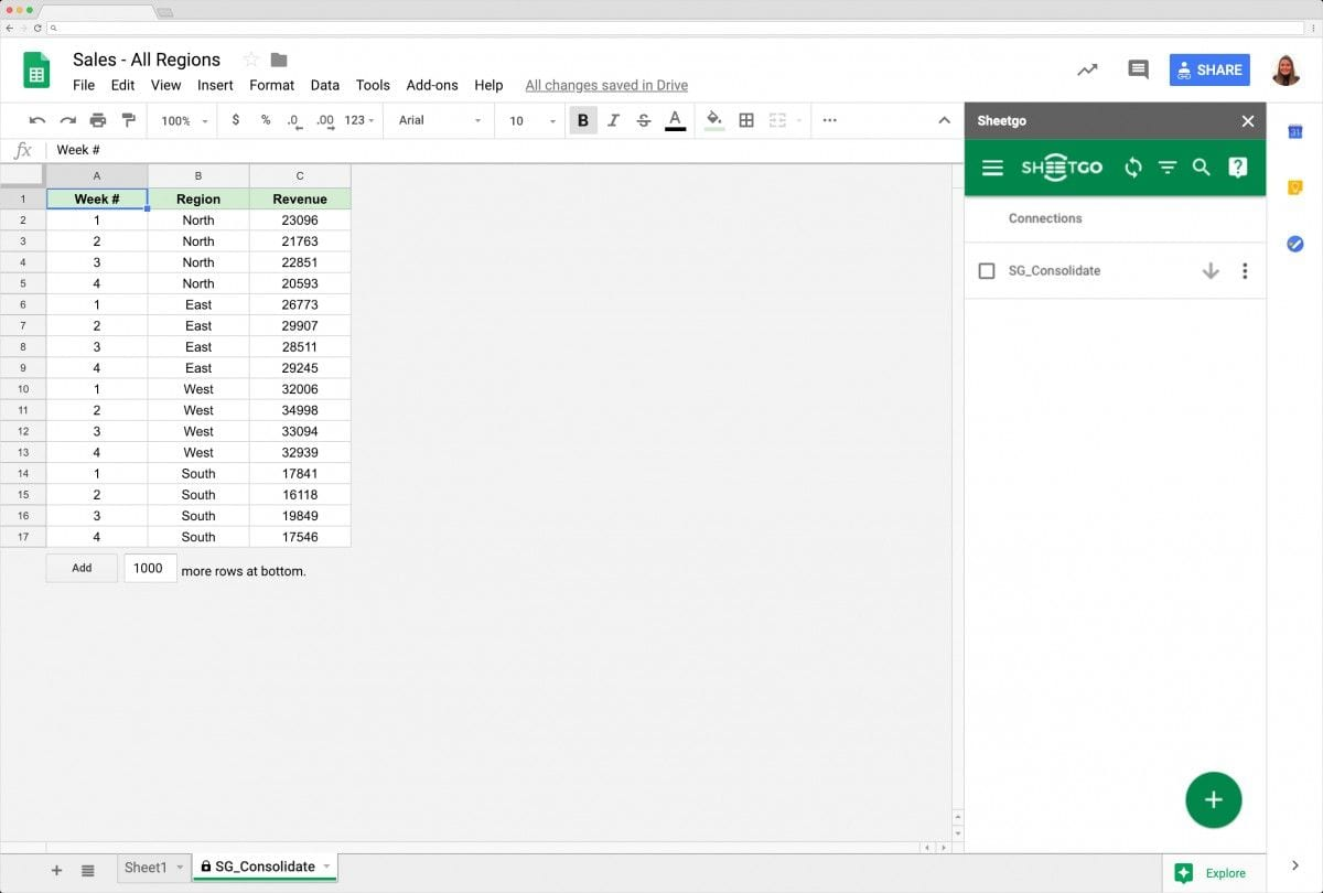 Example of Merged Data in Google Sheets