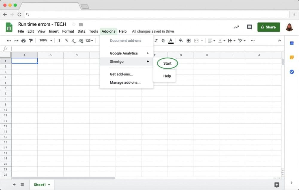 Automatically Import Filtered Data: Start Add On in Google Sheets