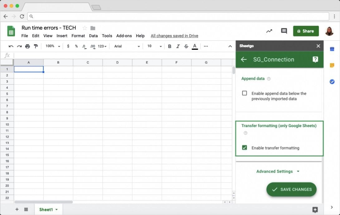 Enable Transfer Formatting in Google Sheets