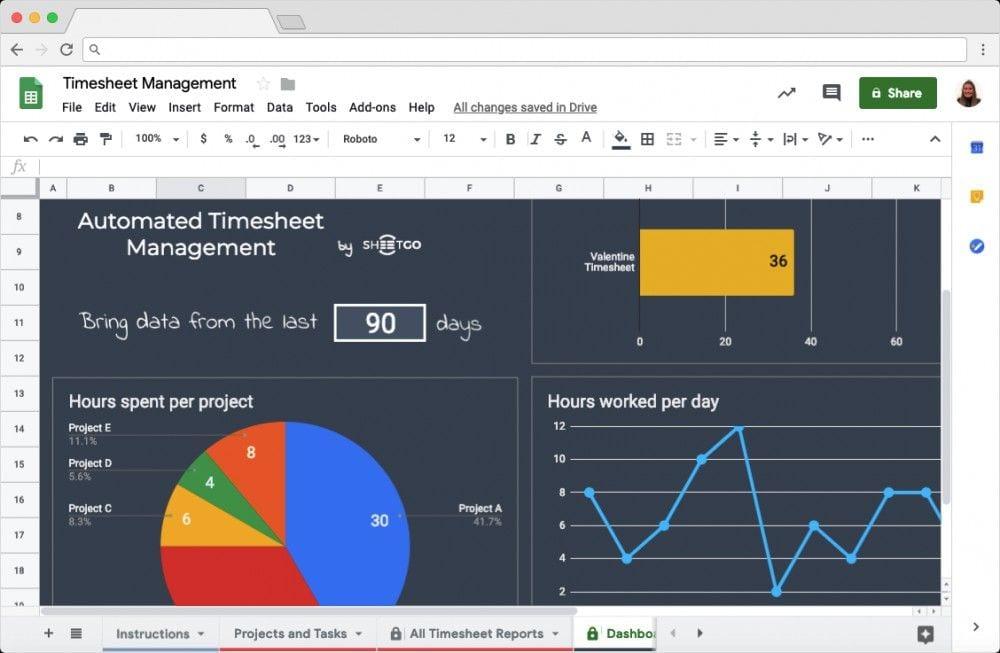 Timesheet Management Template Dashboard in Google Sheets