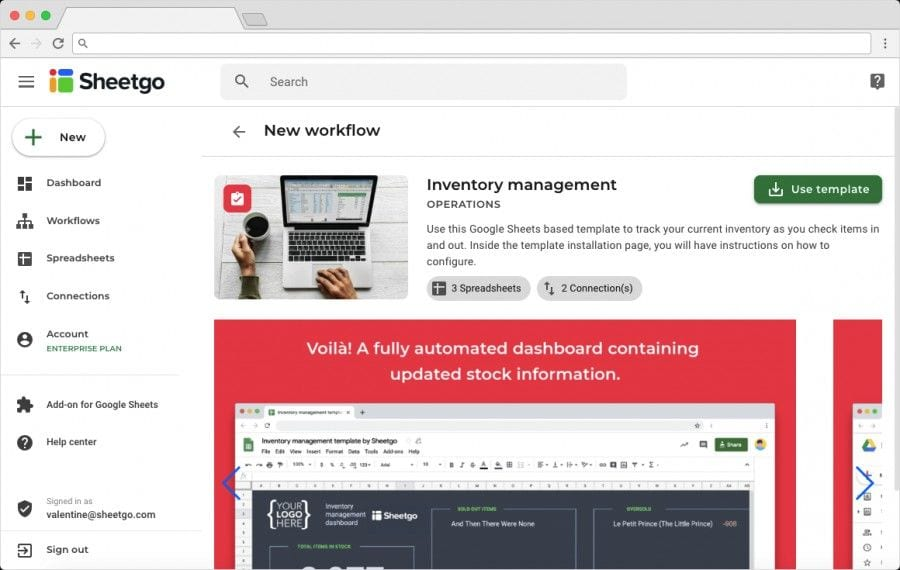 The Best Inventory Management Software: Sheetgo Inventory Management Template Overview