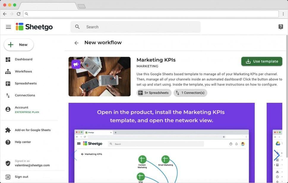 Sheetgo Marketing KPI Template Overview