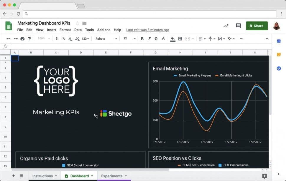 Marketing KPI Dashboard in Google Sheets