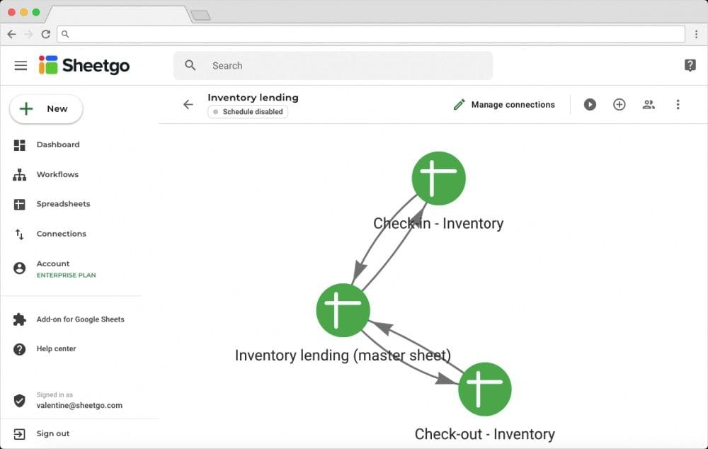 Network Illustration of Inventory Lending Workflow and Connections