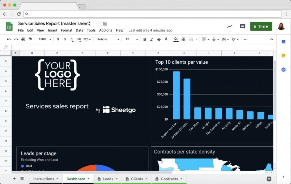 Sales Report Template in Google Sheets: Dashboard