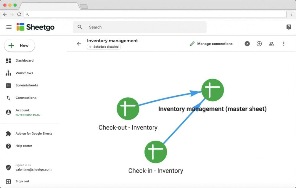 Inventory Management Workflow and Connections on Sheetgo Webapp
