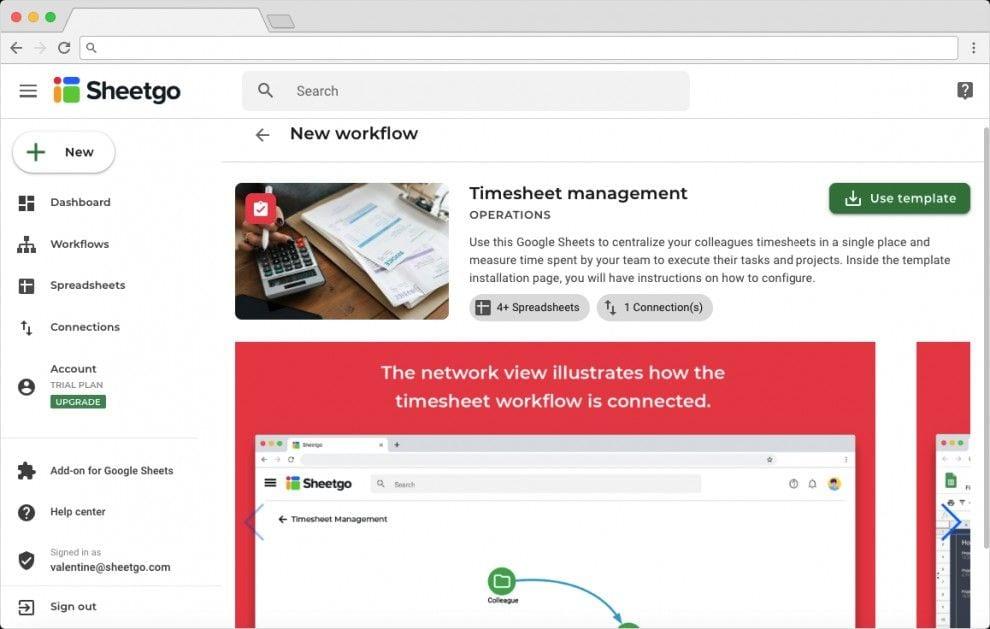 Timesheet Management Template Overview on Sheetgo