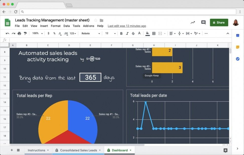 sales lead tracker template in google sheets