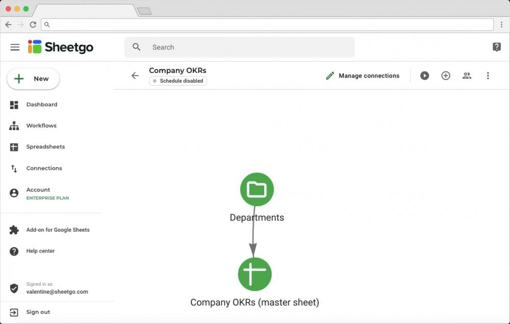 OKR Template in Google Sheets: Network View of Connections and Workflow
