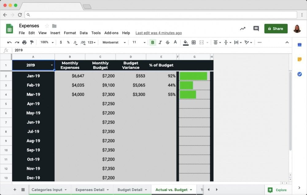 Budget vs Actual Spreadsheet Template: Step 3