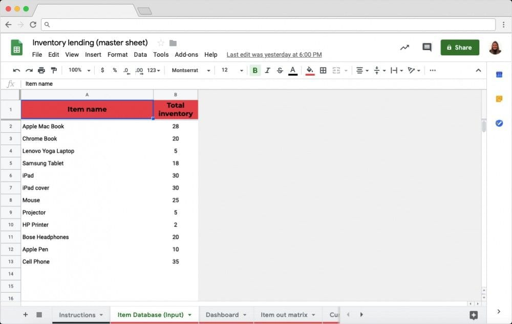 Inventory Lending Template in Google Sheets: Master Sheet