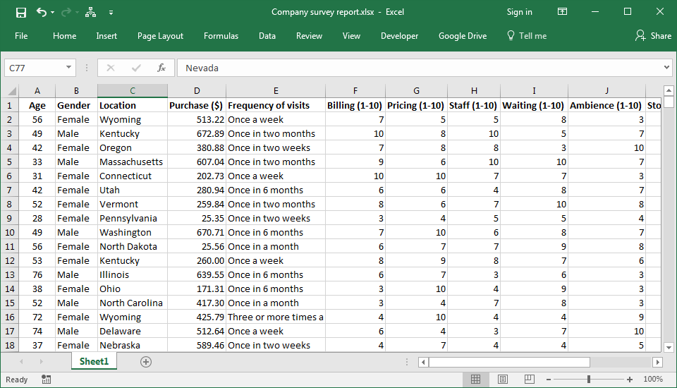 Import filtered Data from Excel to Google Sheets:Excel File of Company Survey Report