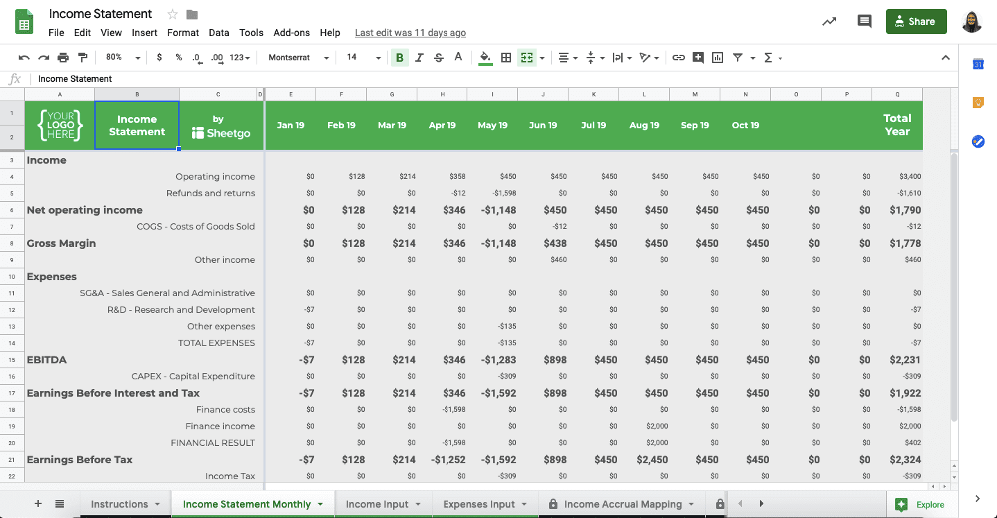 6 Google Sheets Templates You Need for Your Business: Automated Income Statement