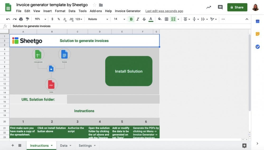 Invoice Generator Template in Google Sheets