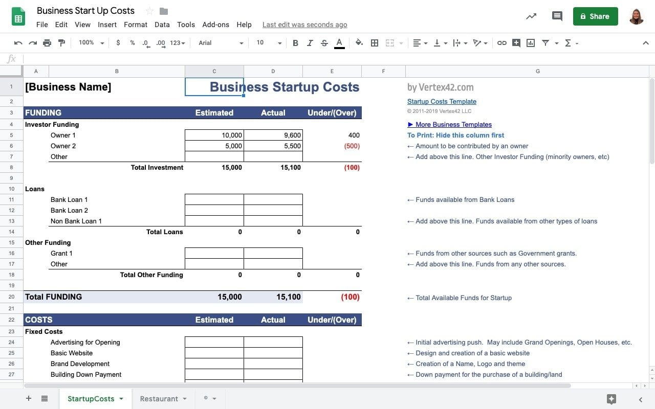 Finance Templates in Google Sheets: Business Startup Costs