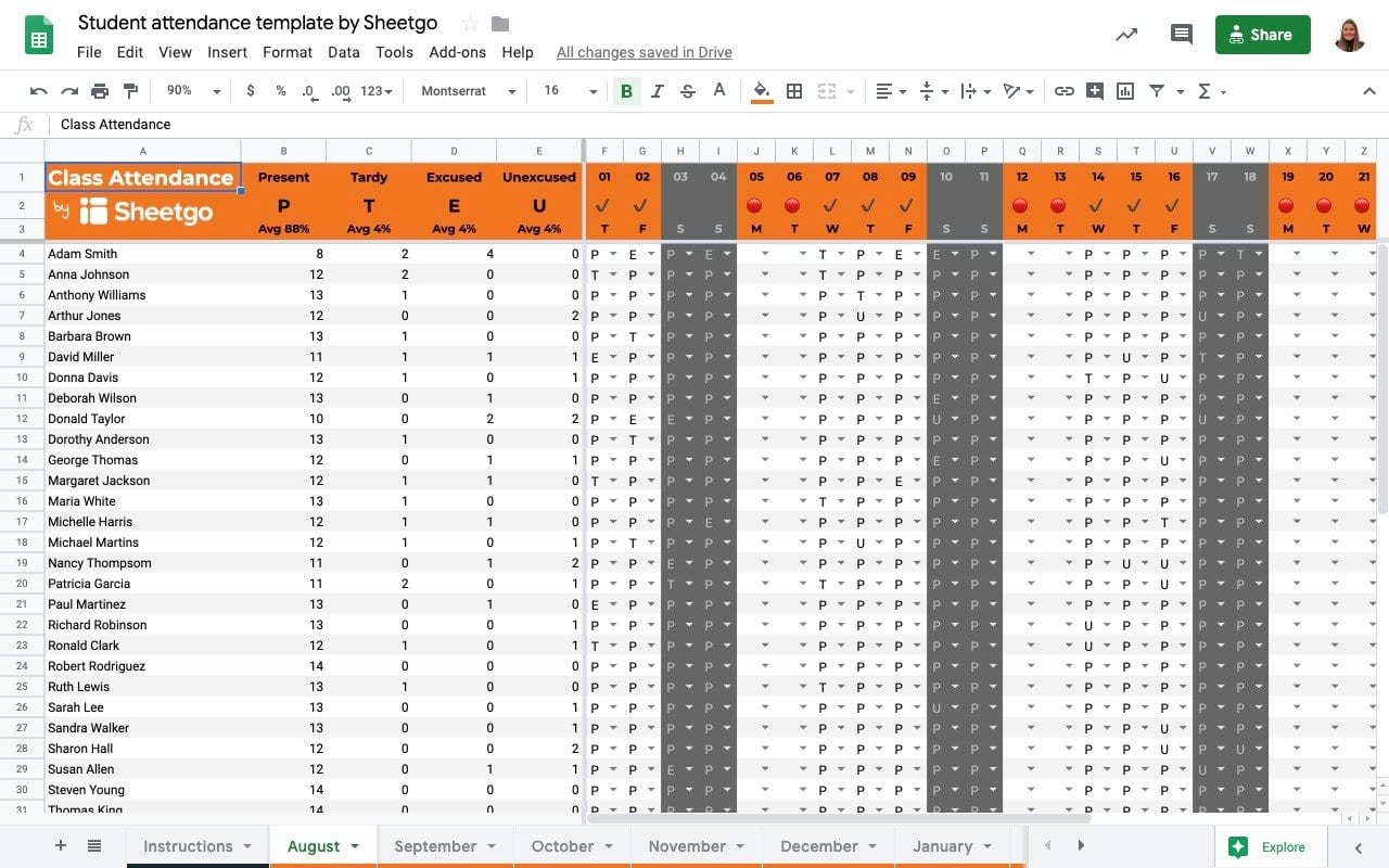 Student attendance tracker template in Google Sheets/ Class attendance overview