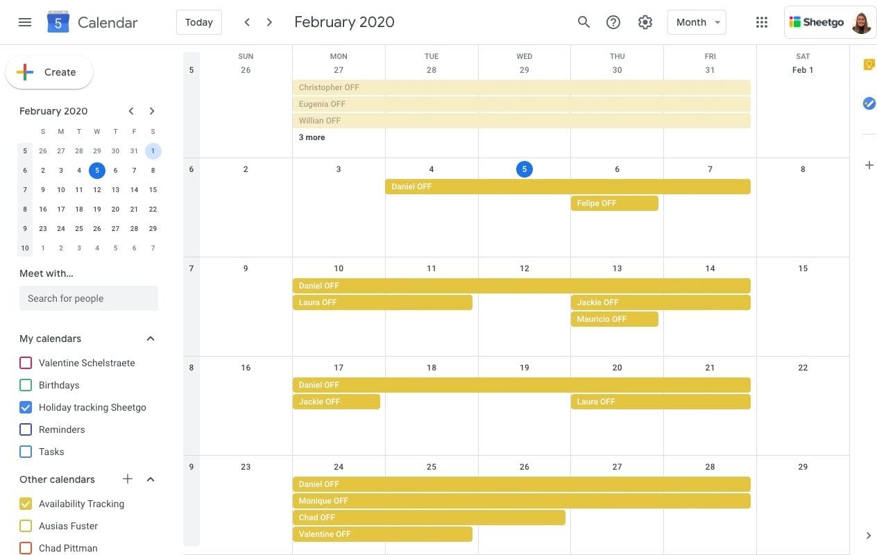 Holiday Tracking: Google Calendar