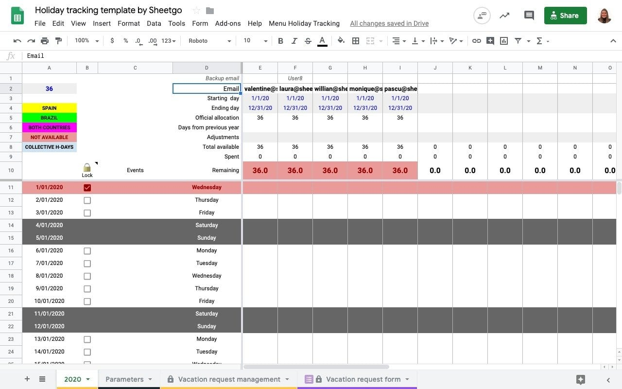 Holiday Tracking Spreadsheet in Google Sheets